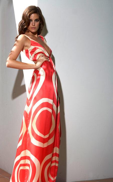 Coral-Print-Silk-Long-Dress