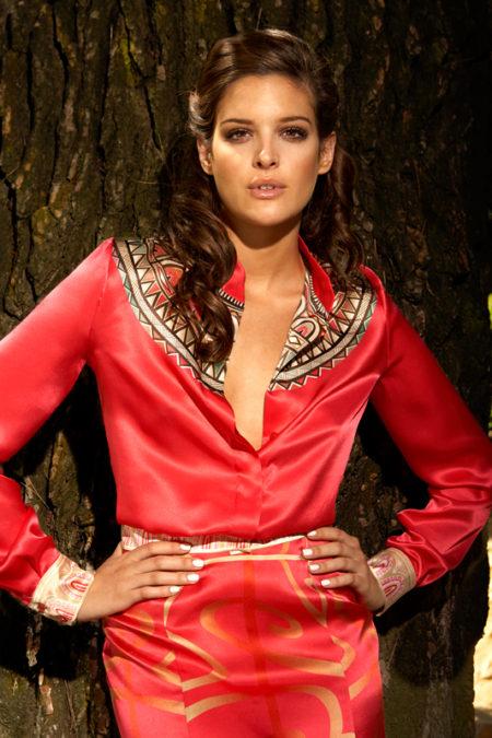 Nacklace-print-silk-slim-shirt-Marquisian-print-silk-skirt